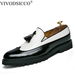 VIVODSICCO Black White Tassel Men bullock Dress Shoes Patent Leather Luxury Fashion Brogue Wedding Shoes Oxford shoes For Men