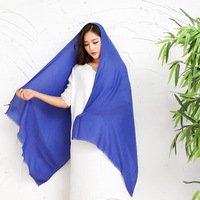 VOHIO Pure Cotton Scarf Shawl Scarves Women S Super Thin Female South Korean Blue Scarves In