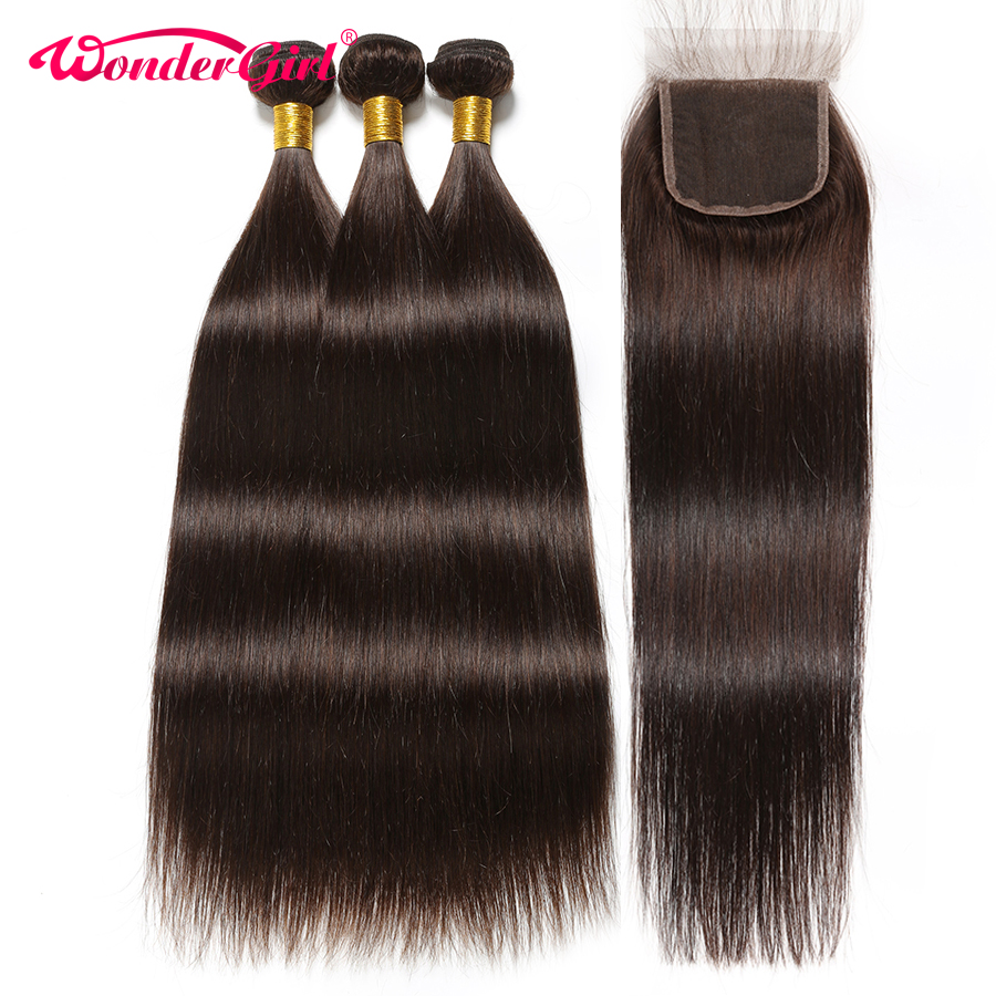 Dark Brown 2 Brazilian Straight Hair Bundles With Closure Human Hair Bundles With Closure Hair Extension