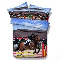 Стеганое одеяло с лошадью Комплект постельного белья 3D дизайн королева размер пододеяльник простыня ватное стеганое одеяло комплект посте