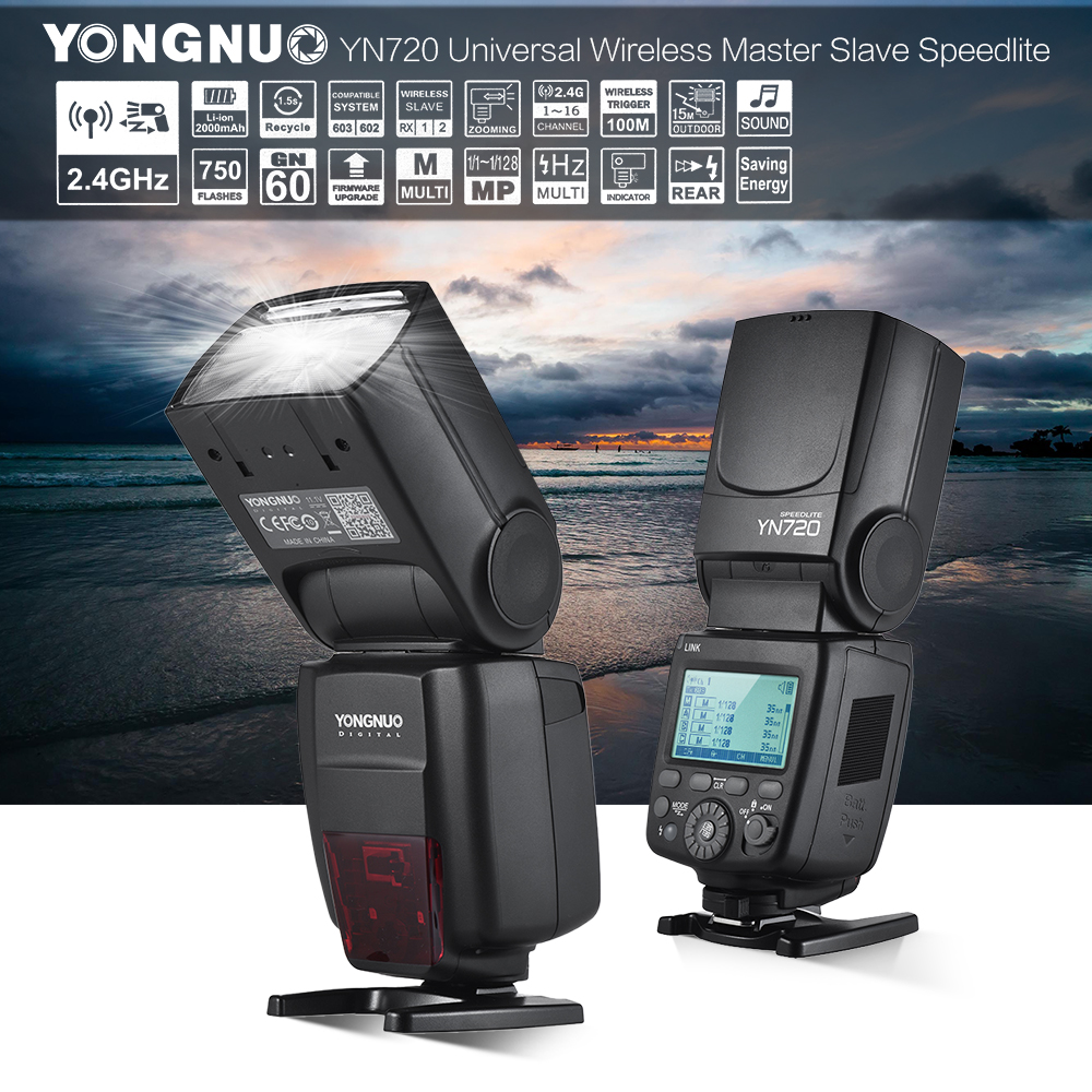YONGNUO YN720 Flash Speedlite Wireless Flash Master Slave Speedlite GN60 LCD Display W/Battery for Canon Nikon Sony DSLR Camera цена