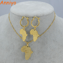 Anniyo African Map Jewelry sets Necklace Earrings for Women Gold Color Ethiopian Jewellery/Nigeria/ Congo/Ghana #001702(China)