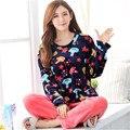 Novas mulheres coral de veludo pijamas de inverno senhora de manga comprida terno sleepwear primark pijamas mulheres doce roupas de flanela camisola