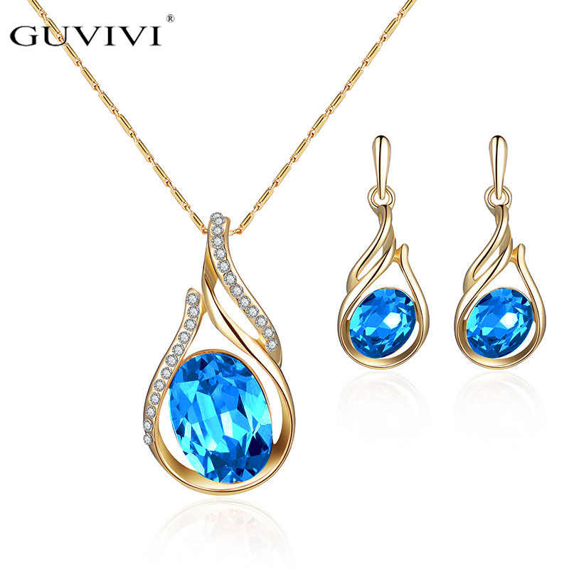 Guvivi Trendy Gold Color Crystal Cz Drop Earrings Pendant Necklaces Set For Women Blue Red Rhinestone Wedding Party Jewelry Set