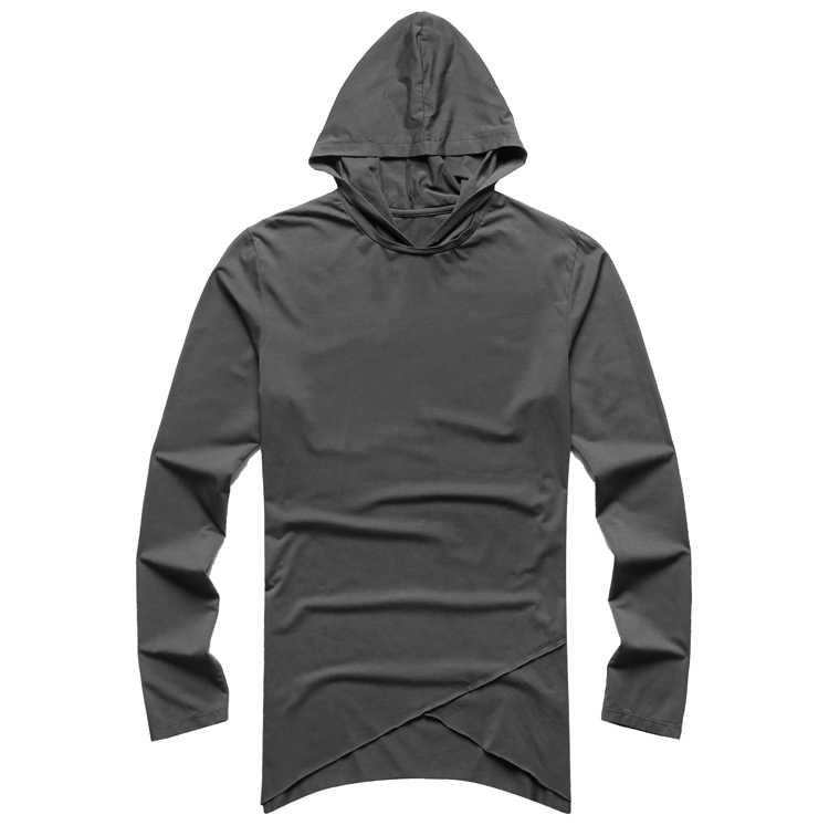 英国スタイルカジュアル不規則なデザイン長袖 Tシャツ帽子男性のスリムグレーヒップホップ新 Tシャツブランド T929