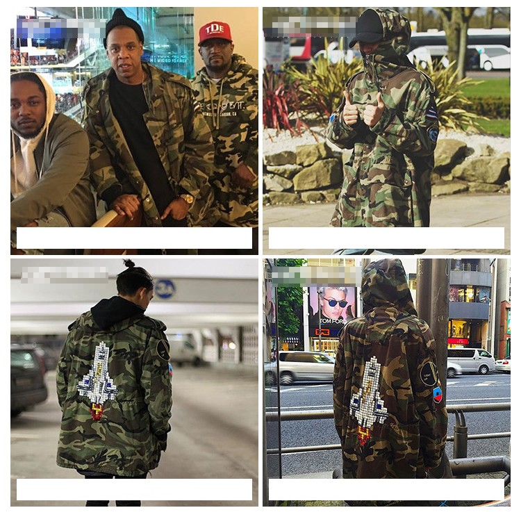 Aolamegs Camouflage Jacket Men Justin Bieber Style Rocket Embroidery Windbreaker Medium-Long Hooded Trench Coat Plus Size S-XXXL (8)