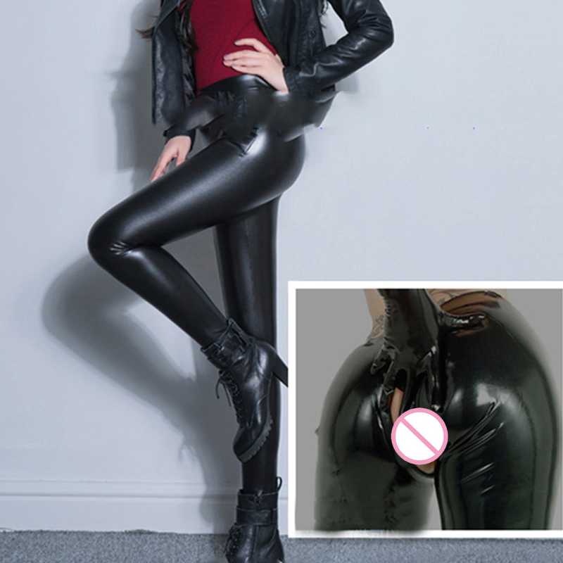 Sexy PU Zipper Open Crotch High Rise Waist Pencil Pants Faux Leather Women Matte Leggings Capris Club Dance Wear Plus Size 70