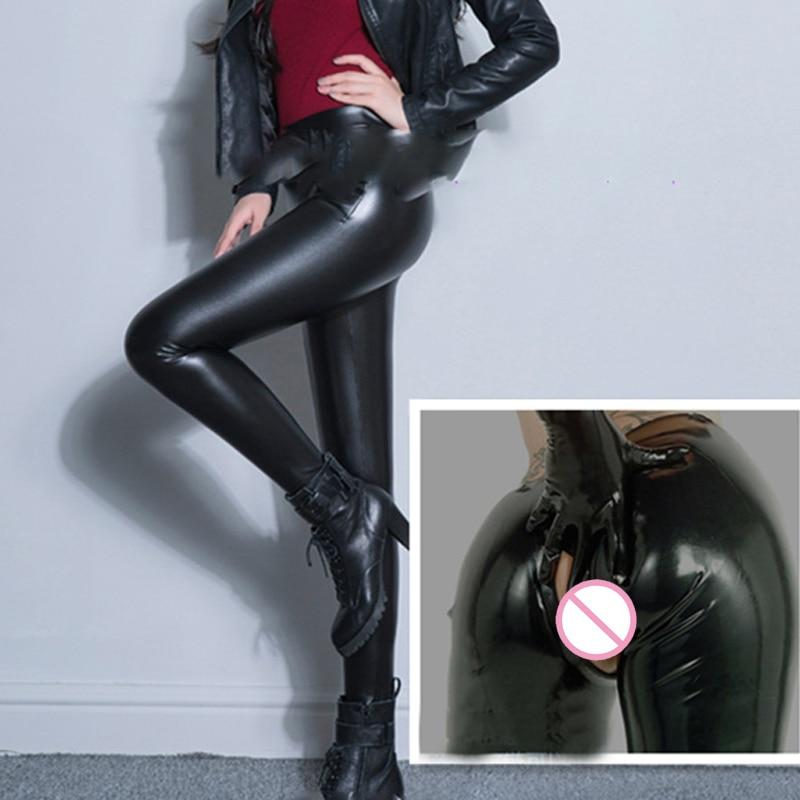 Sexy PU Zipper Open Crotch High Rise Waist Pencil   Pants   Faux Leather Women Matte Leggings   Capris   Club Dance Wear Plus Size 70