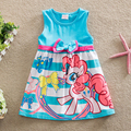 Новый 2016 лето девушки одеваются маленькая пони печати цвет военно-морского флота девочка платье детей одежда детей платье рождественские подарки