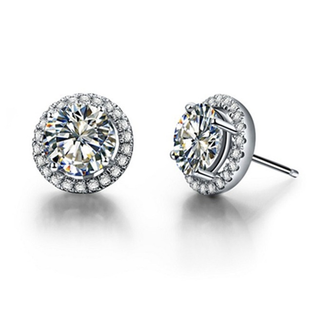 0 5ct Piece Halo Round Moissanite Diamond Earrings Stud Push Back Gold Verified 14k White