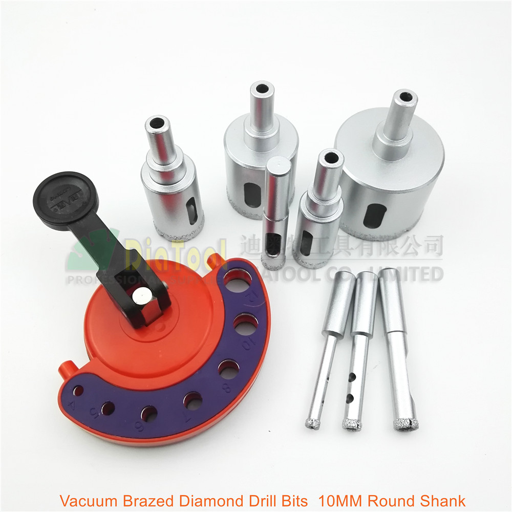 DIATOOL 8pcs Drill Bits With A Sucker Positioner Vacuum Brazed Diamond Drilling Core Bits Hole Saw For Granite Marble Ceramic diatool diameter 55mm x 15mm vacuum brazed diamond drilling core bits hole saw granite marble ceramic drill cutter