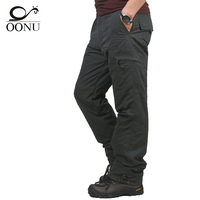 2017 Winter Double Layer Thick Men Cargo Pants Casual Warm Baggy Cotton Trousers For Men S