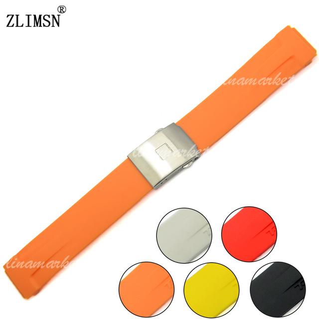 Faixas de relógio de 20mm dos homens preto orange vermelho mergulho borracha de silicone assista band strap para t048 weatband correias das mulheres dos homens