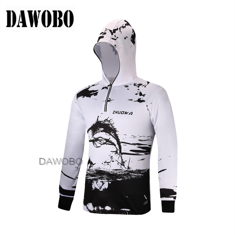 New Arrival Outdoor Men Fishing Clothes Breathable Quick Dry Anti UV 40+ Anti Mosquit Long Sleeve Hooded Mens Fishing Shirts