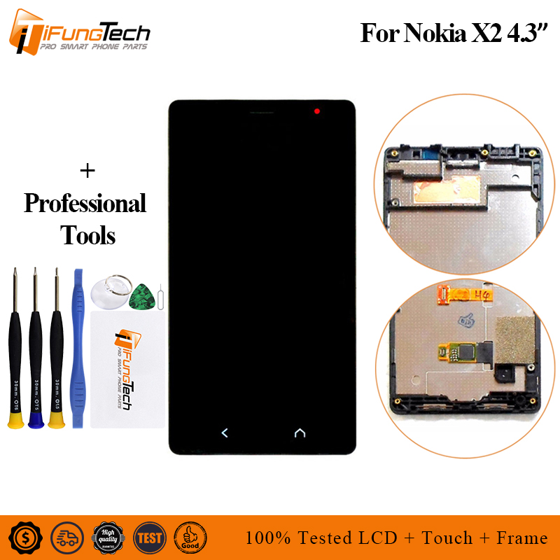For <font><b>Nokia</b></font> X2 LCD with frame Dual SIM Single SIM X2DS RM-<font><b>1013</b></font> Touch Screen Digitizer Panel Sensor Assembly X2 X2DS RM-<font><b>1013</b></font> LCD image
