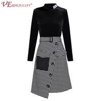 72c04252f Ladies Office Twinsets 2019 Summer Fashion Black Long Sleeve Pullover  Velvet Top Belt Plaid Asymmetrial Skirt