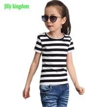 Jilly/хлопковая одежда для маленьких девочек, летняя черно-белая футболка в полоску для девочек, детская одежда, футболка с короткими рукавами для маленьких девочек