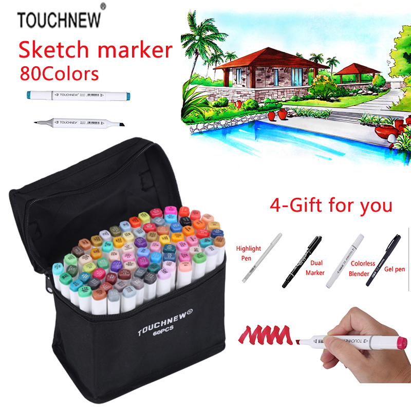 TOUCHNEW 80 Colors Sketch Marker Double Headed Alcohol Oily Mark Students Design Hand-painted Art Marker School Supplies promotion touchfive 80 color art marker set fatty alcoholic dual headed artist sketch markers pen student standard