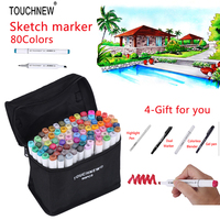 TOUCHNEW 80 Colors Copic Sketch Marker Double Headed Alcohol Oily Mark Students Design Hand Painted Art