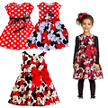 2016 Hot Christmas Dress Minnie Mouse Dress Printing Dot Sleeveless Princess Party Dress Girl Clothes Fashion Kids Baby Costume