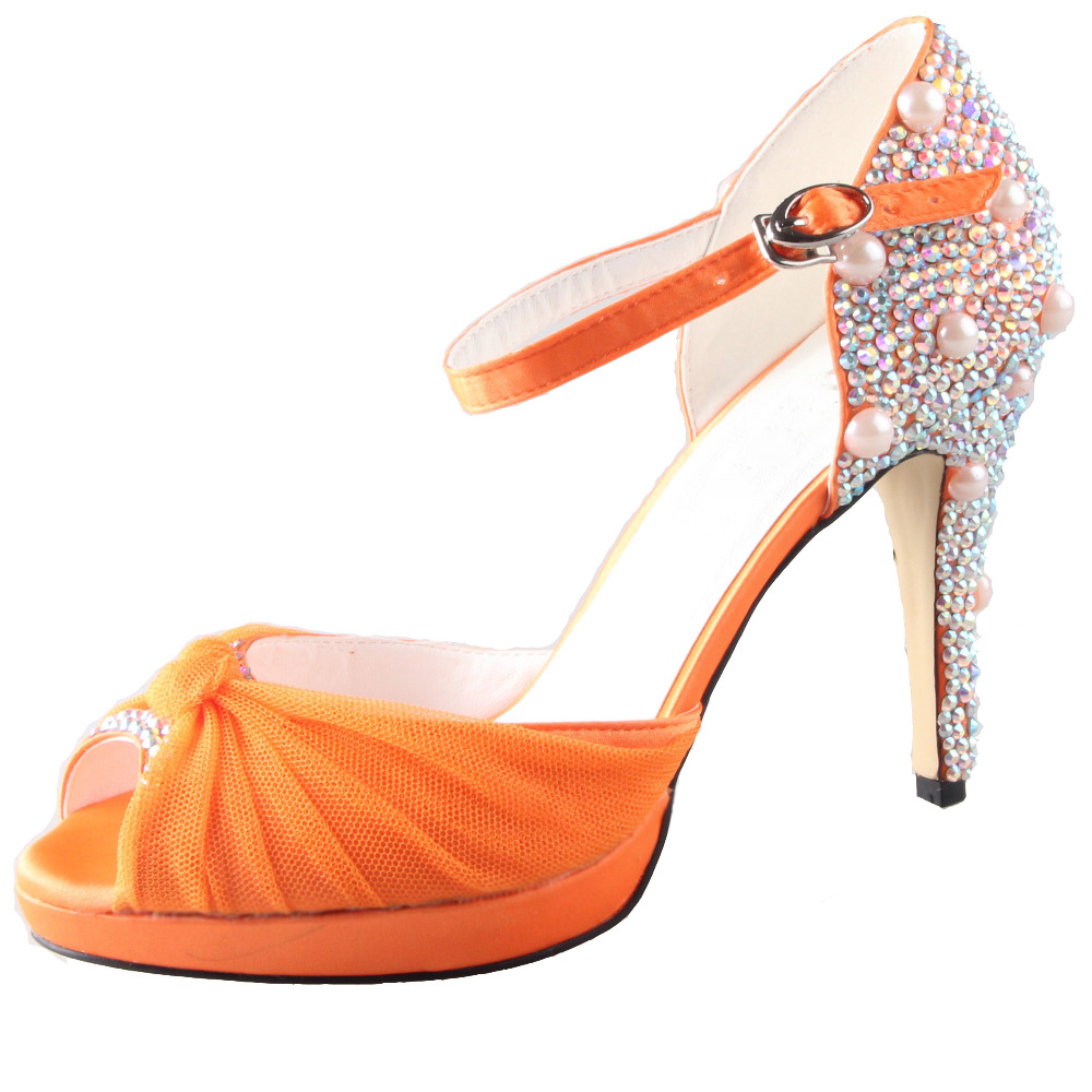 Handmade Orange Rhinestone Watercolor Wedding Shoes Bridal Party Prom Dress  Evening Pumps Peep Toe Du0027orsay Small Custom Big Size In Womenu0027s Pumps From  Shoes ...