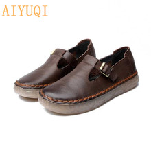 AIYUQI Women shoes 2019 new women genuine leather casual spring footwear retro oxford flat Simple non-slip mother