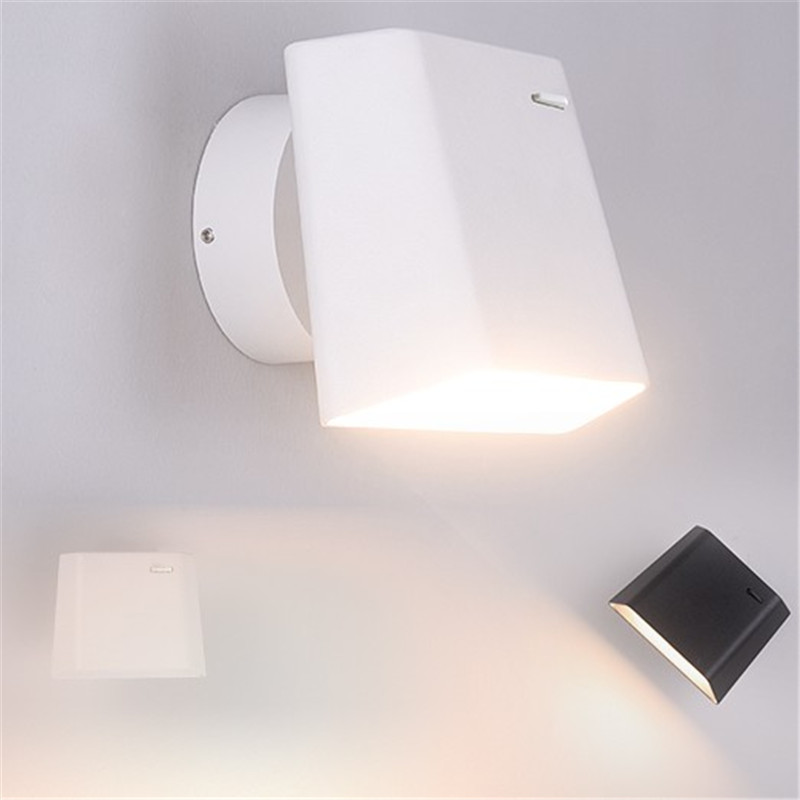 Simple Modern With Switch Read LED Wall Light Fixtures Rotating Bedside Wall Lamp Iron Black White Wall Sconces Lighting simple style with usb switch modern led wall light fixtures read bedside wall lamp fabric shade iron wall sconce home lighting