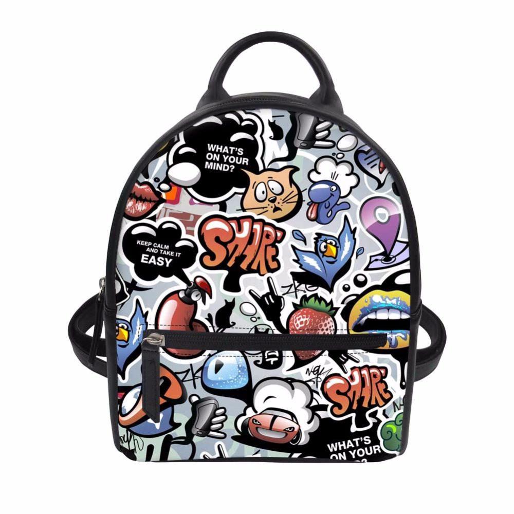 Noisydesigns The graffiti is funny PU School Bag for Girls Small Zombine Shoulder Book Bags Daily Women Travel Punk Back Packs