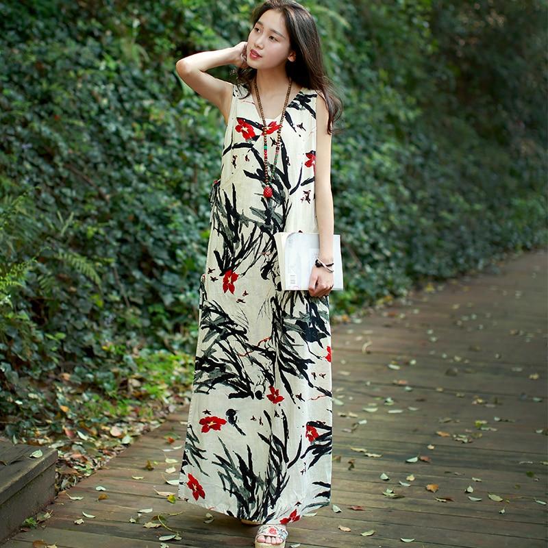 2019 Mori Girl Bez rukávů Sundress Summer Maxi Dlouhé šaty Ženy - Dámské oblečení