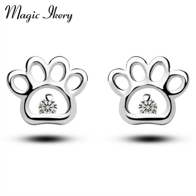 Magic Ikery Gold Color AAA Zircon Jewelry Crystal Luxury Big Cute Paw Earrings Fashion Jewelry for women MKQZ124