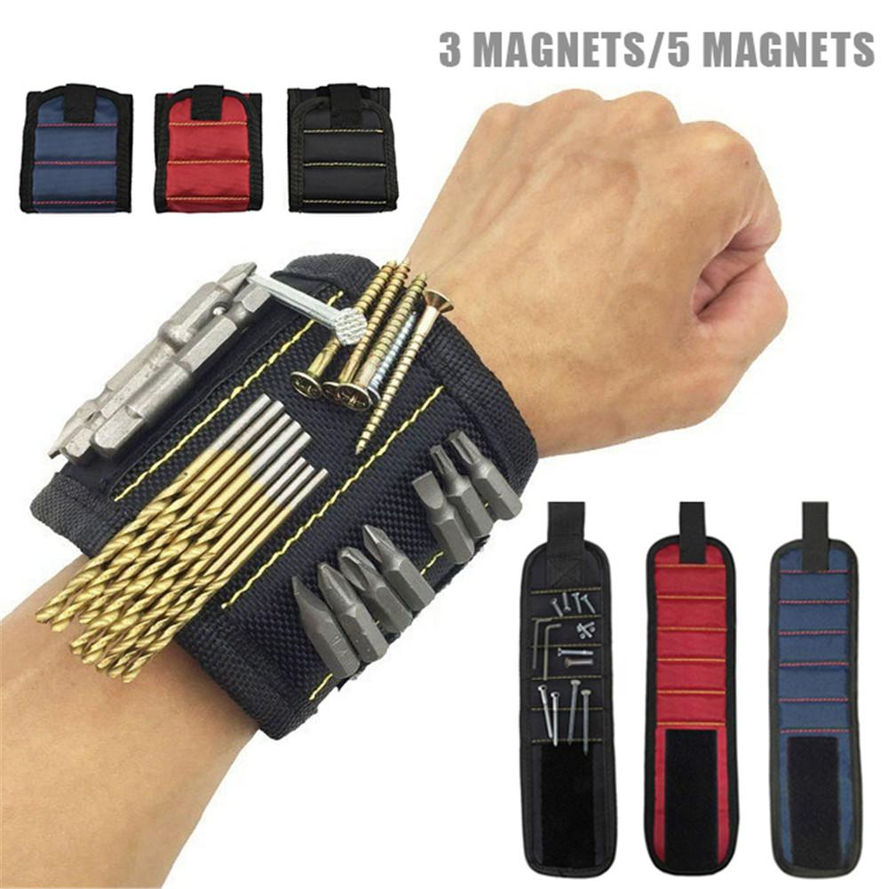 3 Rows Or 5 Rows Of Magnetic Wrist Straps For Fixing Screws Nails Drill Bit Tool Kit Multi-tool Accessories Carrying Bag