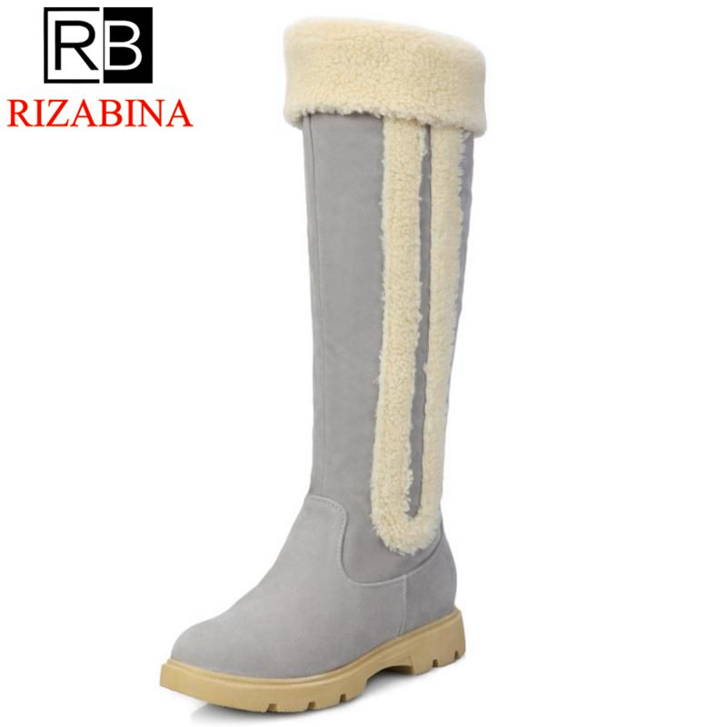 RizaBina Size33-42 Women Boots Russia Keep Warm Outdoor Riding Boots Womens Fur Boots Winter Over Knee Long Snow Boots Shoes