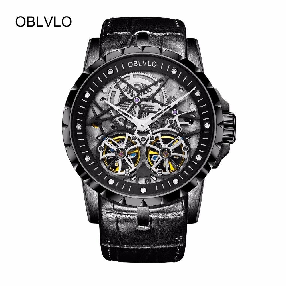 OBLVLO Tous Noir Armée Militaire Transparent Montres pour Hommes Tourbillon Mécanique Montres En Cuir Relogio Masculino Horloge OBL3606