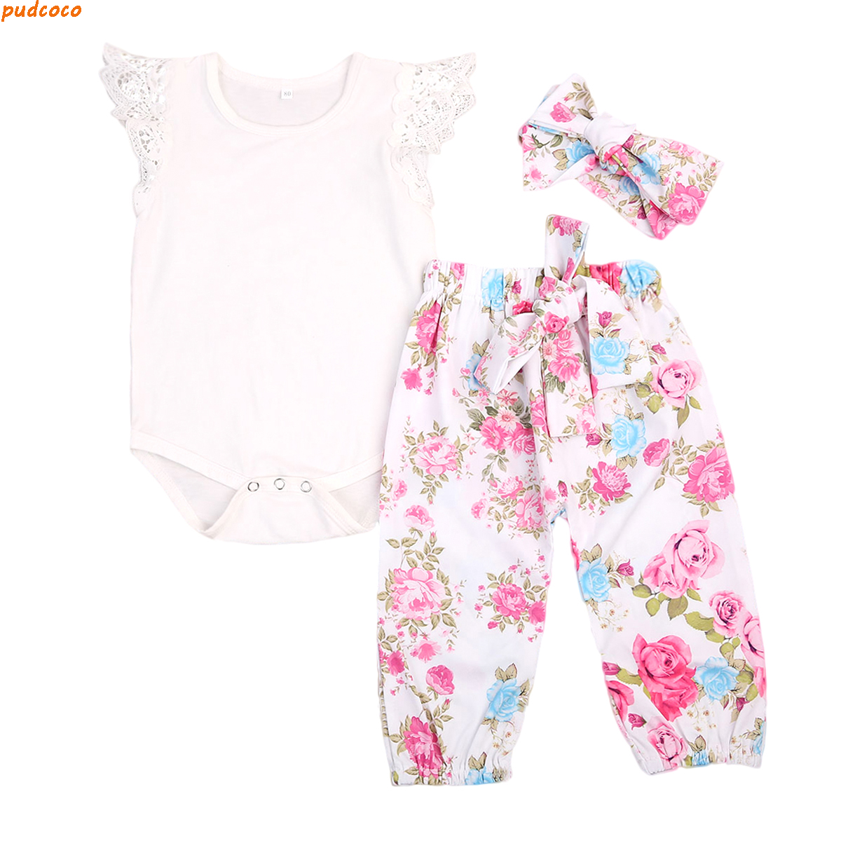 3 24 M Bayi Musim Panas Bodysuits Romper Lengan Pendek Baju Kiih Jumper Kodok Overall Lovely Day Pcs Set Floral Baru Lahir Perempuan Pakaian Balita Top Lace