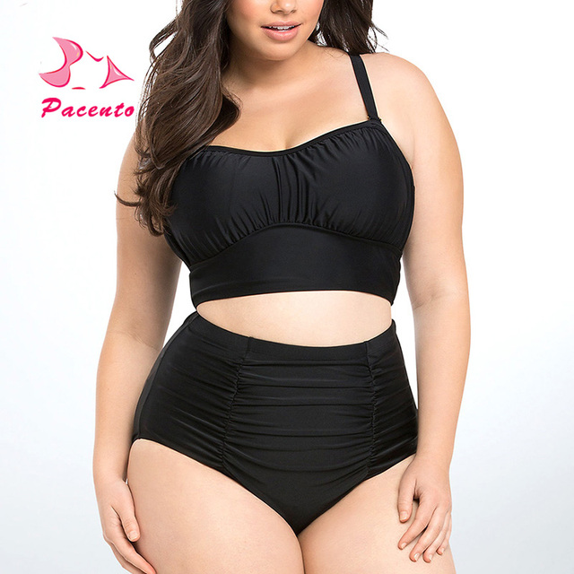 f6dbc8180edc4 PACENT Hot Plain Black XXXL Bikini 2017 New Arrival High Waisted Bathing  Suits Women Swimwear Female Plus Size 3XL XXL XL Plavky