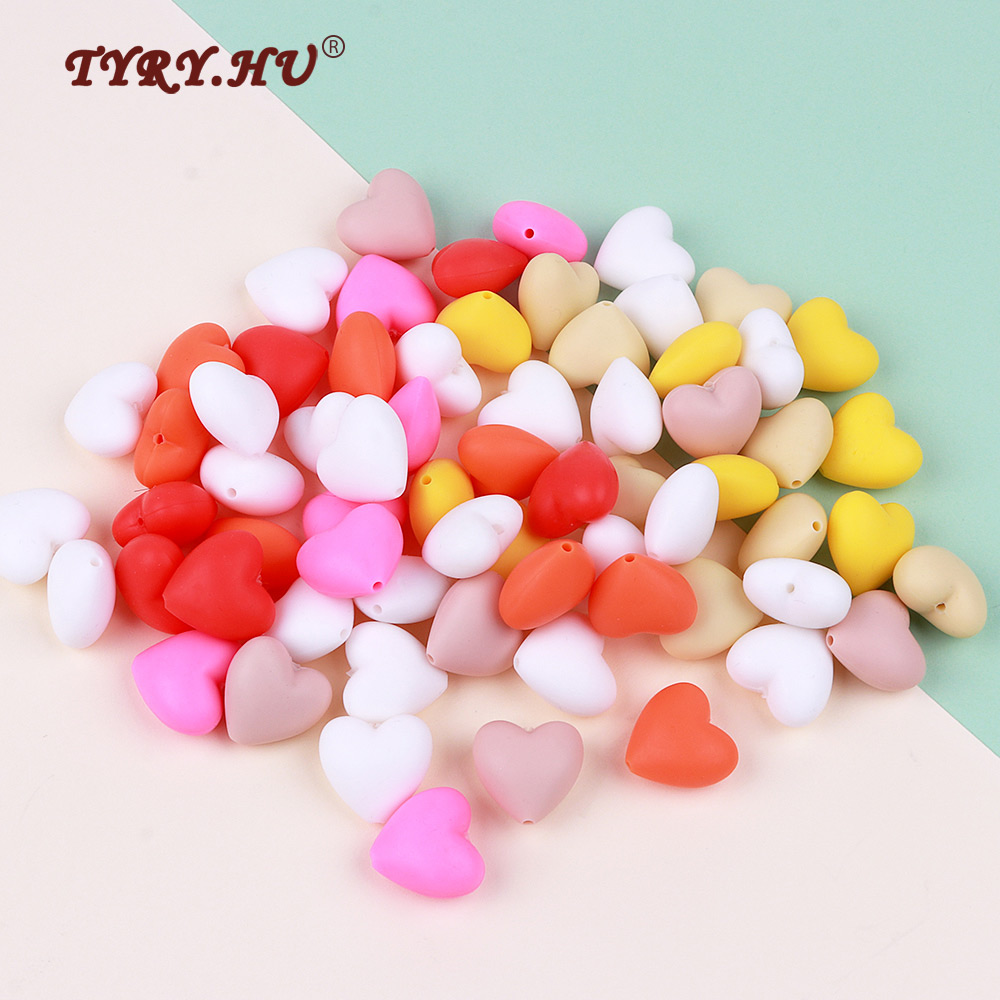 TYRY.HU 10Pc Silicone Heart Beads Loose BPA Free For Baby Silicone Teething Safe Toys For DIY Jewelry Making Necklace/Bracelet