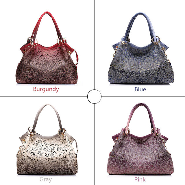 Top-handle Bags for Women Hollow Out Ombre Handbag Floral Print Shoulder Bag 2