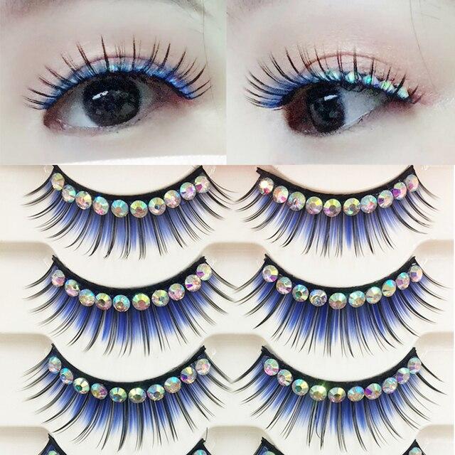 YOKPN Colored False Eyelashes Exaggerated Latin Performance Thick Fake Eyelashes Shimmery Show Color Big Eye Makeup Lashes Glue 2