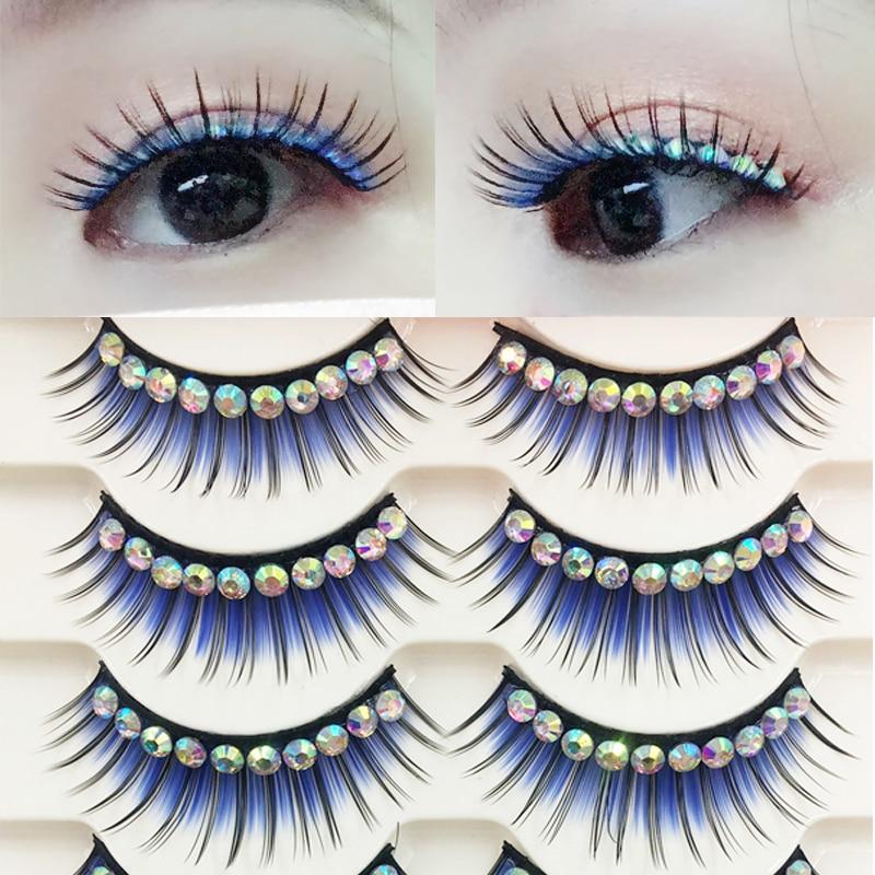YOKPN New Blue Exaggerated False Eyelashes Latin Performance Thick Fake Eyelashes Shimmery Show Color Big Eye Lashes 5 Pairs
