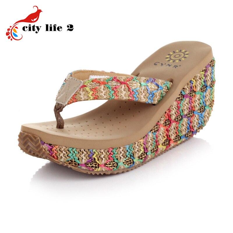 2016 Summer Bohemian Sandals Heavy Bottomed Rattan Wedged Platform Designer Shoes font b Women b font