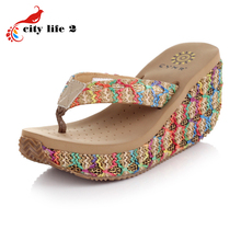 2016 Summer Bohemian Sandals Heavy-Bottomed Rattan Wedged Platform Designer Shoes Women Flip Flops Chaussures Pour Femmes