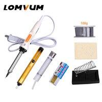 Lomvum 電気はんだごて温度調節可能なはんだごてキット 40-60 ワットハンドル熱鉛筆はんだごて 220 v