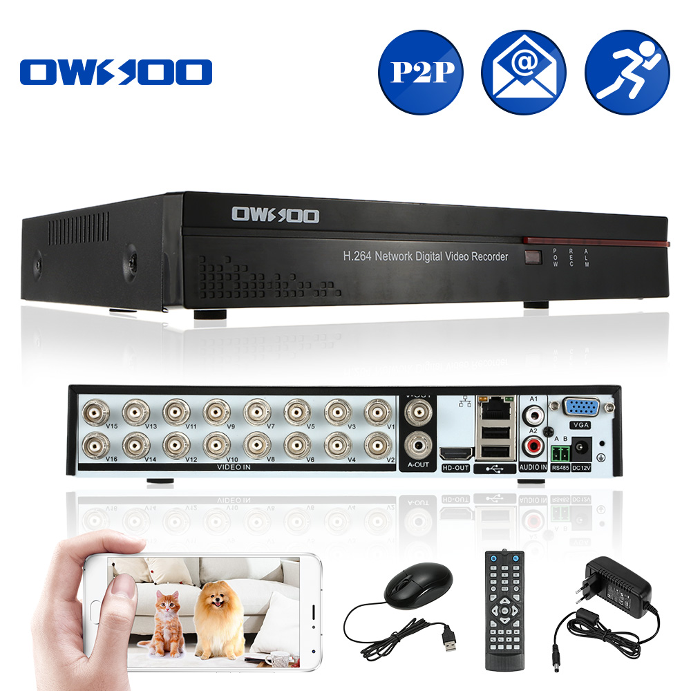 OWSOO 16CH DVR Digital Video Recorder 16 Channel H.264 Home CCTV Security  DVR HD/VGA/BNC Output 2CH Audio Input Phone Control-in Surveillance Video  Recorder ...