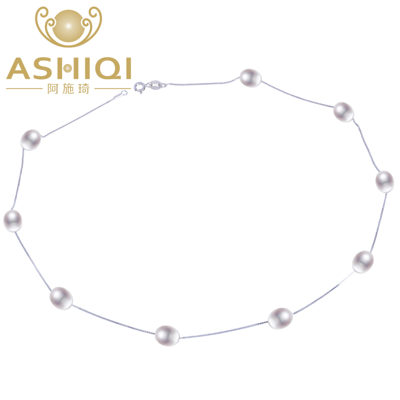 ASHIQI Real 925 sterling silver necklace 7-8mm Real Natural Freshwater pearl necklace White pearl Jewelry for Women Gifts yikalaisi 2017 fine natural freshwater pearl necklace 925 sterling silver jewelry 8 9mm real pearl necklace gifts for women