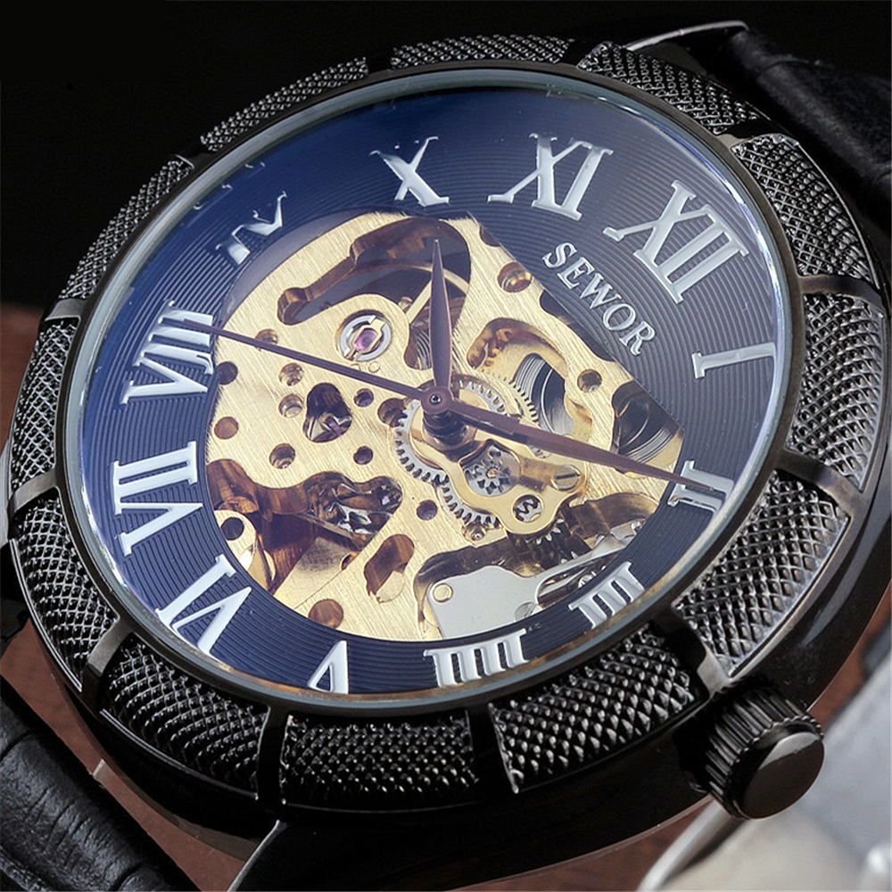 2016 Famous Brand SEWOR Wristwatches Luxury Fashion Vintage Leather Strap Black Roman Dial Men Mechanical Skeleton