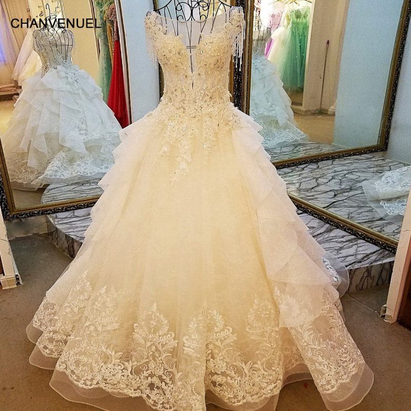 LS7899 ivory lace wedding gowns beading A-line O neck cap sleeves lace wedding dress for bridal  real photos china online who