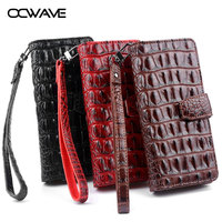 OCWAVE Wallet Leather Case For Xiaomi Redmi Note 4X Luxury Crocodile Pattern Cards Slot Hand Strap