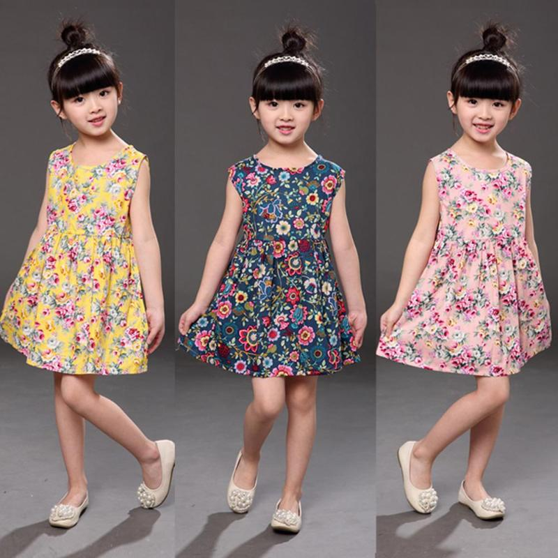 Children Dresses Kids Girl Sleeveless Flower Print Cotton and Linen floral Dress Baby Girl Spring Summer dresses for girls 2