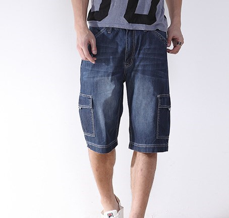 Mens Denim Cargo Shorts Jeans Big Sizes 2016 Summer Style Knee Length Joggers Jean Shorts 40