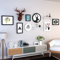 European Photo Frame Set 7pcs Picture Frames+Reindeer Head+Shelf Home Decoration Wooden Photo Frame Wall Bilderrahmen Fotorahmen